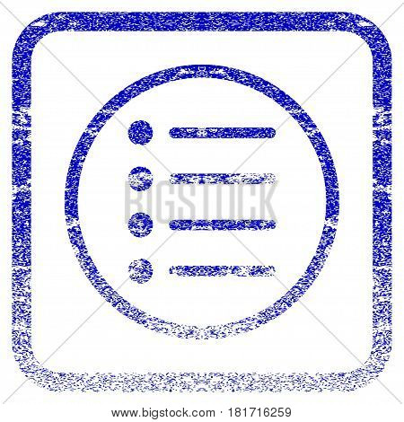 Items textured icon for overlay watermark stamps. Blue vectorized texture. Flat vector symbol with scratched design inside rounded square frame. Framed blue rubber seal stamp imitation.
