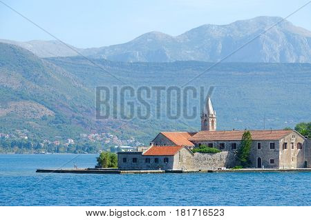 Otok Island (Gospa od Milo) with monastery of Jesuit Order and Church of Blessed Virgin Mary Tivat Bay Montenegro