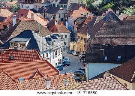 View of the old residential street in the village of Weissenkirchen in der Wachau. Wachau-Valley, district of Krems-Land, Lower Austria.