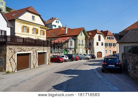 View of the residential street in the market town of Weissenkirchen in der Wachau. District of Krems-Land, Lower Austria.