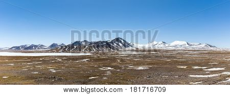 kunlun snow mountains panorama on tibetan plateau snow area plateau background