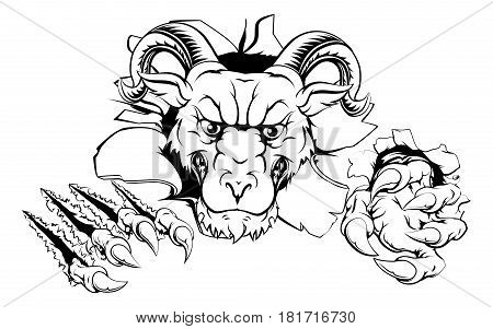 An illustration of a cartoon tough ram character face tearing out of a wall