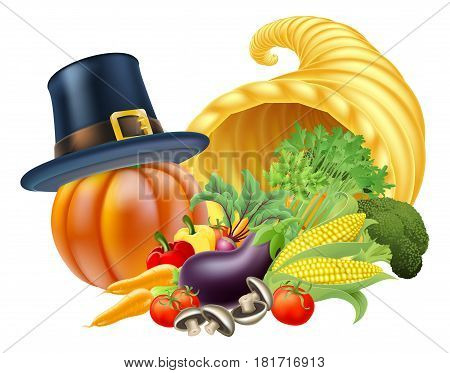 Thanksgiving golden horn of plenty cornucopia full of vegetables and fruit produce with a pilgrim or puritan thanksgiving hat