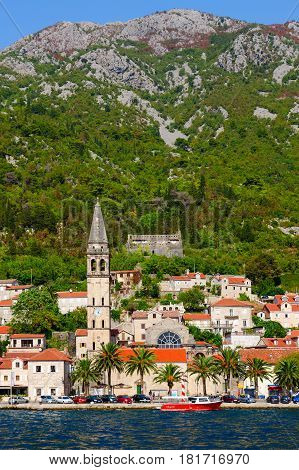 Beautiful view from tsea to small resort town of Perast Kotor Bay Montenegro