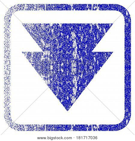 Move Down textured icon for overlay watermark stamps. Blue vectorized texture. Flat vector symbol with unclean design inside rounded square frame. Framed blue rubber seal stamp imitation.