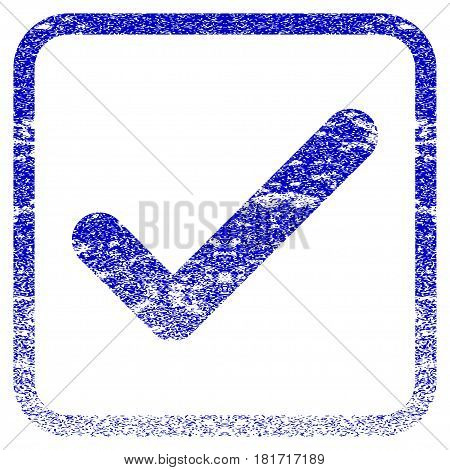 Ok textured icon for overlay watermark stamps. Blue vectorized texture. Flat vector symbol with scratched design inside rounded square frame. Framed blue rubber seal stamp imitation.