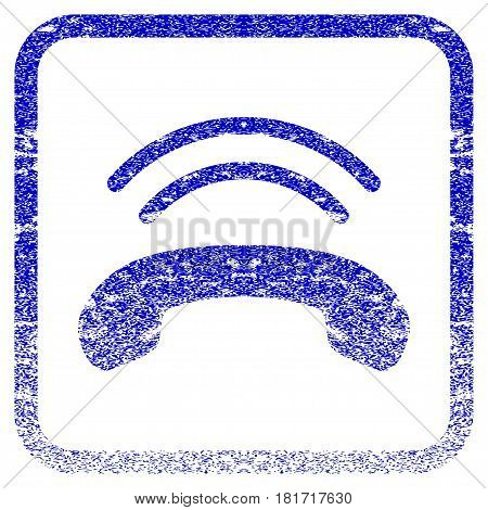 Phone Ring textured icon for overlay watermark stamps. Blue vectorized texture. Flat vector symbol with scratched design inside rounded square frame. Framed blue rubber seal stamp imitation.