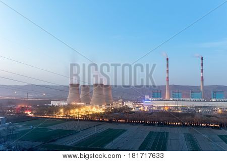modern thermal power plant in nightfall gansu provinceChina
