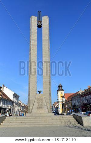 CLUJ NAPOCA ROMANIA - 03.04.2017: heroes boulevard Memorandum Monument landmark architecture