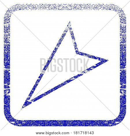 Pointer Left Down textured icon for overlay watermark stamps. Blue vectorized texture. Flat vector symbol with dirty design inside rounded square frame. Framed blue rubber seal stamp imitation.