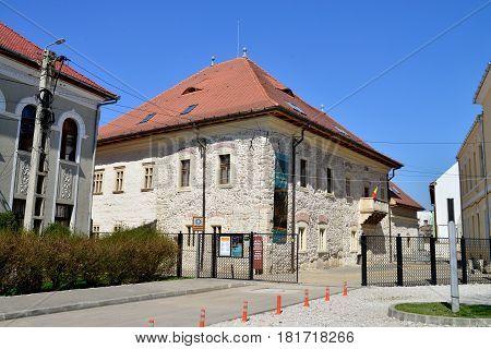 TURDA ROMANIA - 04.04.2017: history museum landmark architecture and princely palace