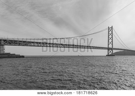 Black and White Akashi Kaikyo Bridge Kobe Japan an the longest suspension bridge