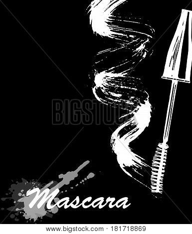 Mascara eyeliner and brush stroke vector beauty and cosmetic background. Vector illustration.