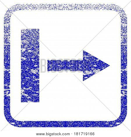 Pull Right textured icon for overlay watermark stamps. Blue vectorized texture. Flat vector symbol with dust design inside rounded square frame. Framed blue rubber seal stamp imitation.