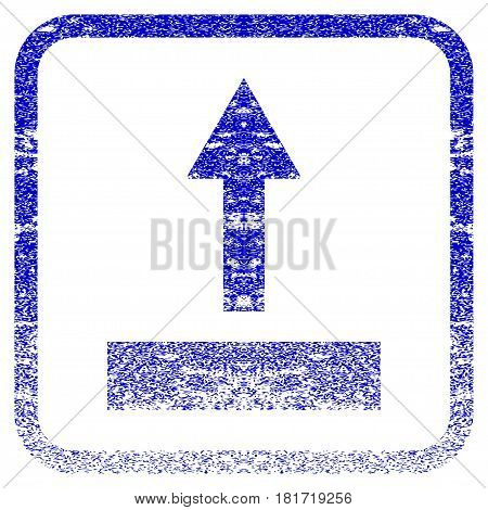 Pull Up textured icon for overlay watermark stamps. Blue vectorized texture. Flat vector symbol with unclean design inside rounded square frame. Framed blue rubber seal stamp imitation.