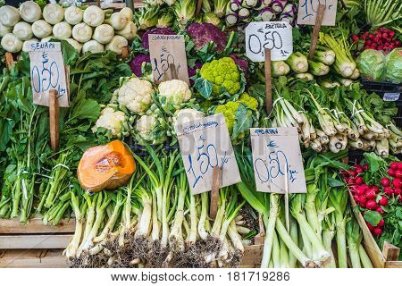 Stall with vegetables on market place of Ortygia isle Syracuse city Sicily Island in Italy