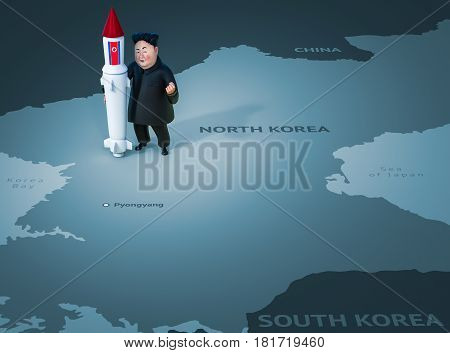 Pyongyang, April 11, 2017: North Korea Threatens To Use Nuclear Weapons. Character Portrait Of Kim J