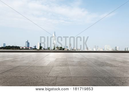 cityscape of nanjing from empty brick floor