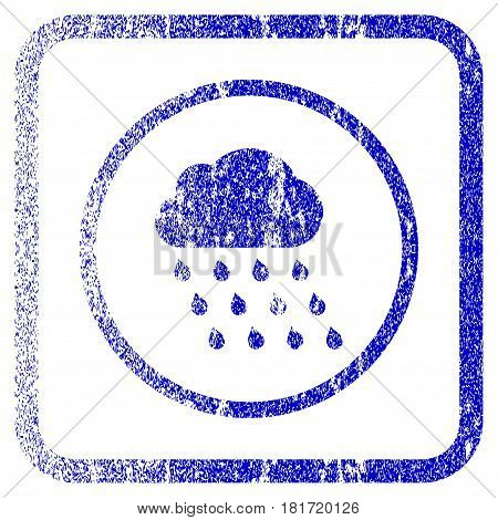 Rain Cloud textured icon for overlay watermark stamps. Blue vectorized texture. Flat vector symbol with dirty design inside rounded square frame. Framed blue rubber seal stamp imitation.