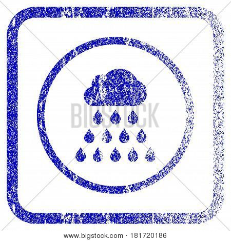 Rain Cloud textured icon for overlay watermark stamps. Blue vectorized texture. Flat vector symbol with unclean design inside rounded square frame. Framed blue rubber seal stamp imitation.
