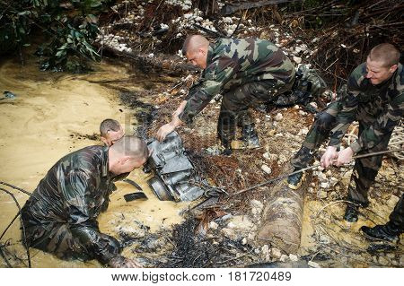 French Guiana, - circa, 2011. Legionaries-infantrymen of the 3rd foreign infantry regiment of the French foreign legion during the operation Orpailleur