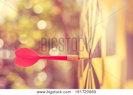 Red Dart Arrow In The Center Of Dartboard. Blur And Bokeh In Sunrise Time Background. Warm Vintage E