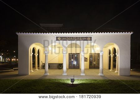 Naples Fl USA - March 21 2017: The Naples depot and train museum illuminated at night. Florida United States