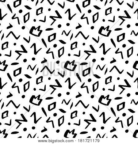 Seamless pattern in memphis style with geometric design ink elements: crown rhombus circle zigzag.
