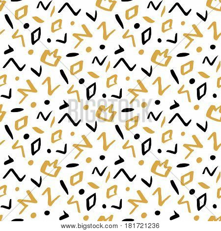 Seamless pattern in memphis style with geometric design ink elements: crown rhombus circle zigzag. In black and gold colors