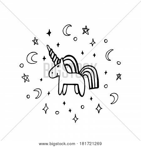 Unicorn of black ink on a white background. It can be used for website design article phone case poster t-shirt mug etc.