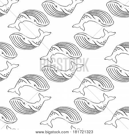 Whale hand-drawn ink. Black and white seamless pattern in marine style.