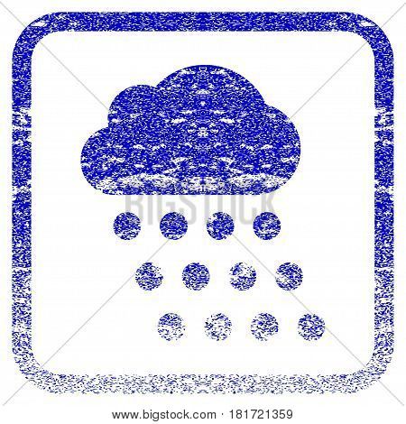 Rain Cloud textured icon for overlay watermark stamps. Blue vectorized texture. Flat vector symbol with scratched design inside rounded square frame. Framed blue rubber seal stamp imitation.