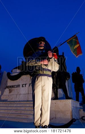 Aubagne, France, - circa, 2011. Legionnaire of the 1st foreign regiment of the French Foreign Legion before the monument in memory of the deceased legionaries at the headquarters of the Legion.
