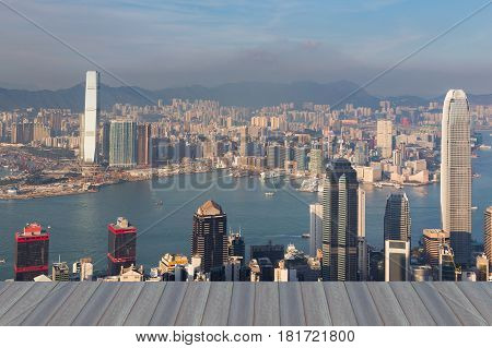 Opeing wooden floor Hong Kong business downtown building aerial view