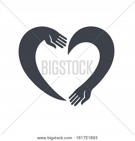 Two hands in the shape of a heart. Heart Logo design vector template Negative space style. Donation idea. Valentines day concept. Cardiac medical Health Logotype.