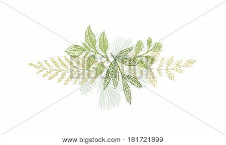 Greenery botanical hand drawn leaf decoration. Vector green branches isolated on white background. Botanical spring doodles