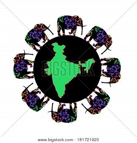 Map of India in the circle. Logo India. Trip to World. Travel to World. Vacation. Road trip. Tourism Travel banner
