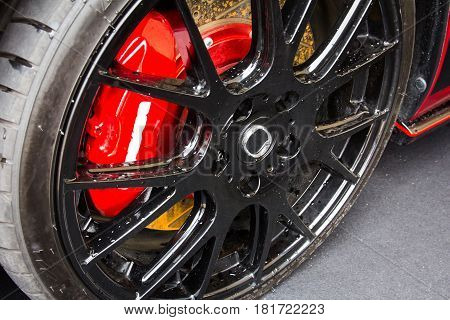 Close up of car alloy wheel background
