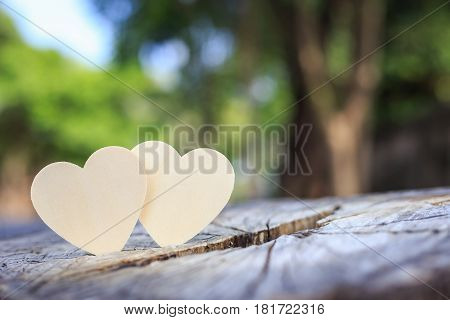Bright Wooden Heart Symbol On Tree Stump. Love Tree Or Save World Concept