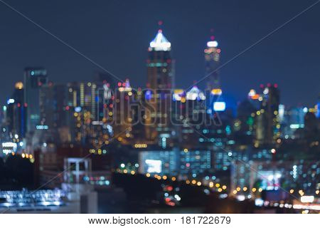 Abstract blurred bokeh city downtown twilight light night view