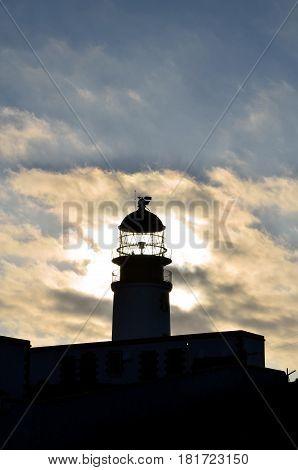Scotland's Neist Point Lighthouse at dusk on Skye Scotland.