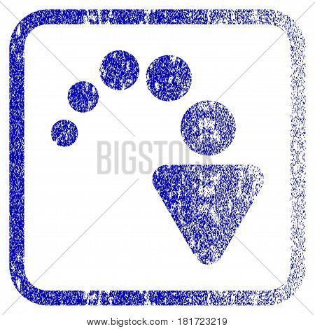 Redo textured icon for overlay watermark stamps. Blue vectorized texture. Flat vector symbol with dirty design inside rounded square frame. Framed blue rubber seal stamp imitation.