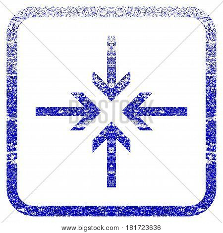 Reduce Arrows textured icon for overlay watermark stamps. Blue vectorized texture. Flat vector symbol with unclean design inside rounded square frame. Framed blue rubber seal stamp imitation.