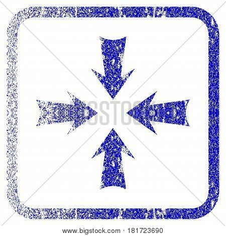 Reduce Arrows textured icon for overlay watermark stamps. Blue vectorized texture. Flat vector symbol with dust design inside rounded square frame. Framed blue rubber seal stamp imitation.