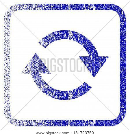 Refresh textured icon for overlay watermark stamps. Blue vectorized texture. Flat vector symbol with dust design inside rounded square frame. Framed blue rubber seal stamp imitation.
