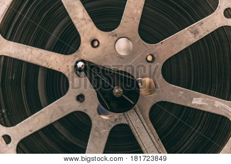 Close up of old vintage film reel, ancient movie equipment