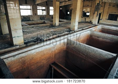 Abandoned factory or storage building, interior inside