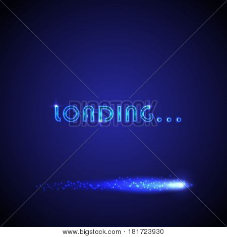 Vector background with bright progress loading bar. Can be used for loading screen in video games software application website; as intro in video clip; as charging icon