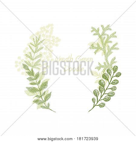 Green scribble branch frame vector, greeting card template. Floral card scetch. Hand drawn greenery leaf border