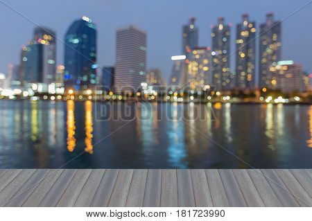 Opening wooden floor Office building with reflection light blurred bokeh abstract background